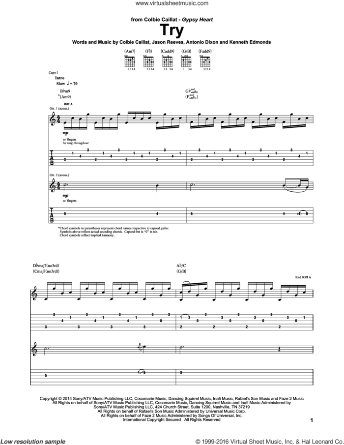 Try sheet music for guitar (tablature) by Colbie Caillat, Antonio Dixon, Jason Reeves and Kenneth Edmonds, intermediate skill level