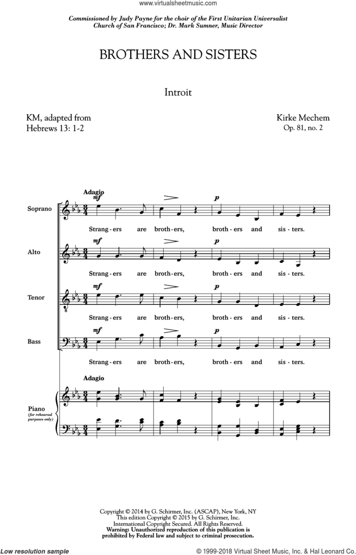 Brothers And Sisters sheet music for choir (SATB: soprano, alto, tenor, bass) by Kirke Mechem, intermediate skill level