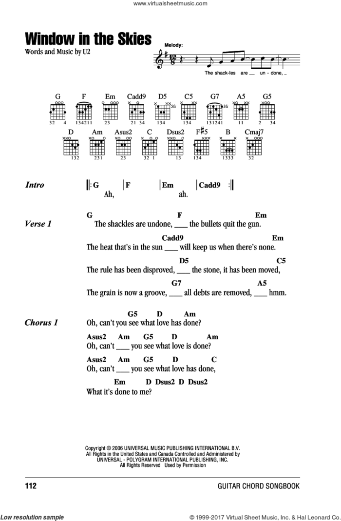 Window In The Skies sheet music for guitar (chords) by U2, intermediate skill level