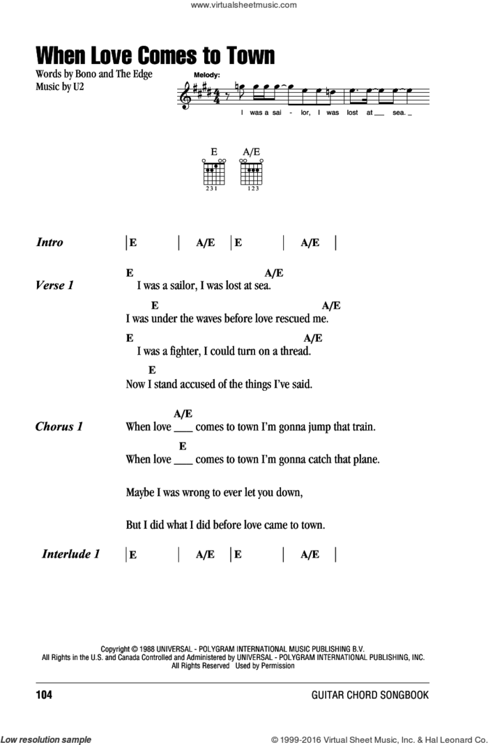 When Love Comes To Town sheet music for guitar (chords) by U2, Bono and The Edge, intermediate skill level