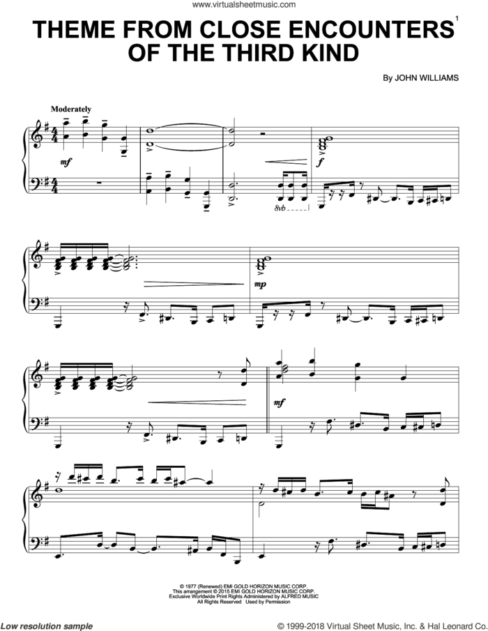 Theme From Close Encounters Of The Third Kind sheet music for piano solo by John Williams, intermediate skill level