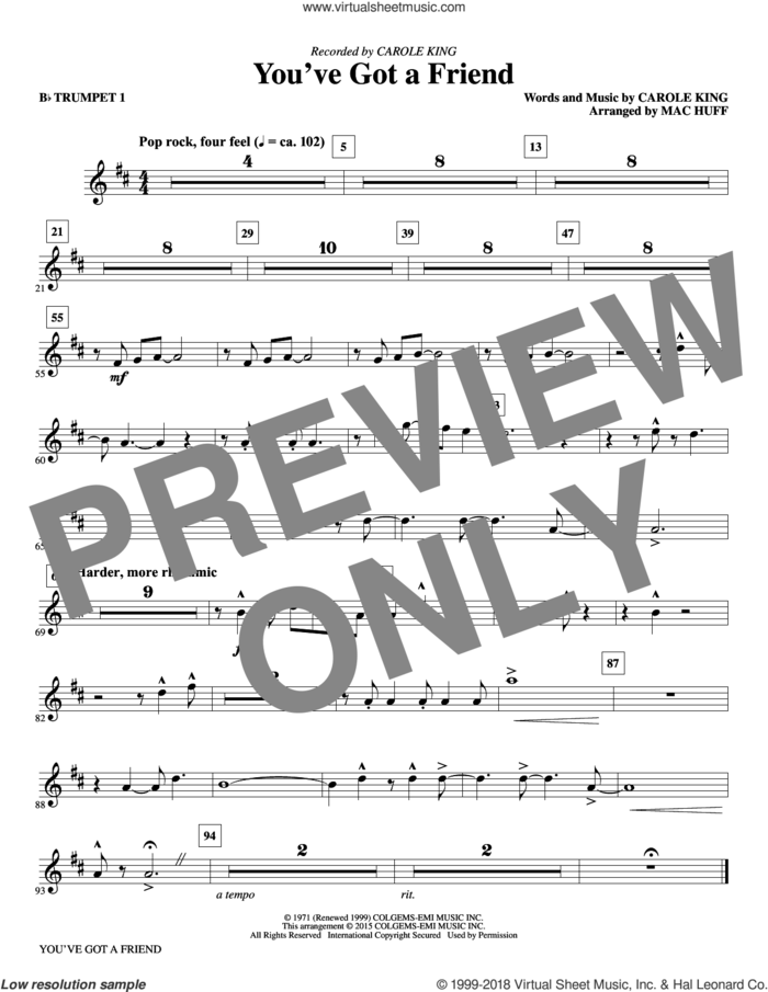 You've Got a Friend (complete set of parts) sheet music for orchestra/band by Mac Huff, Carole King and James Taylor, intermediate skill level