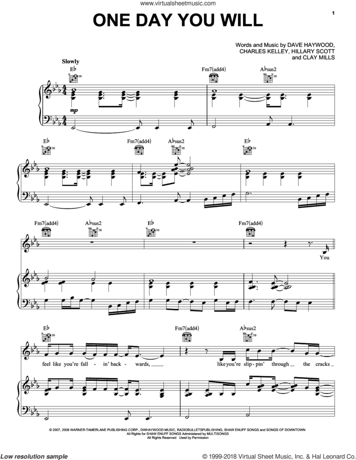 One Day You Will sheet music for voice, piano or guitar by Lady Antebellum, Lady A, Charles Kelley, Clay Mills, Dave Haywood and Hillary Scott, intermediate skill level