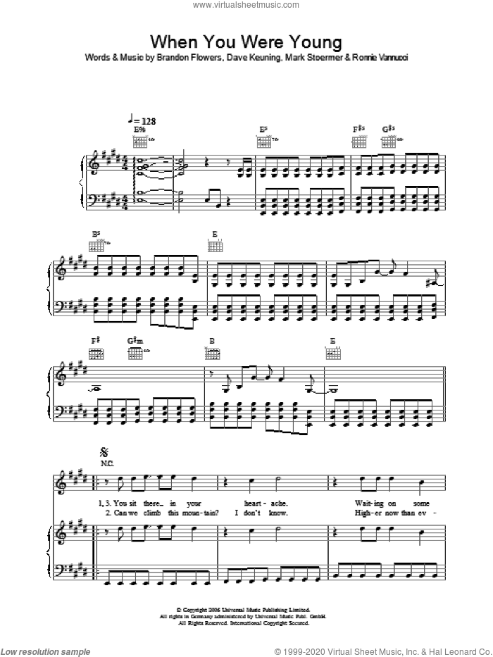 When You Were Young sheet music for voice, piano or guitar by The Killers, Brandon Flowers, Dave Keuning, Mark Stoermer and Ronnie Vannucci, intermediate skill level