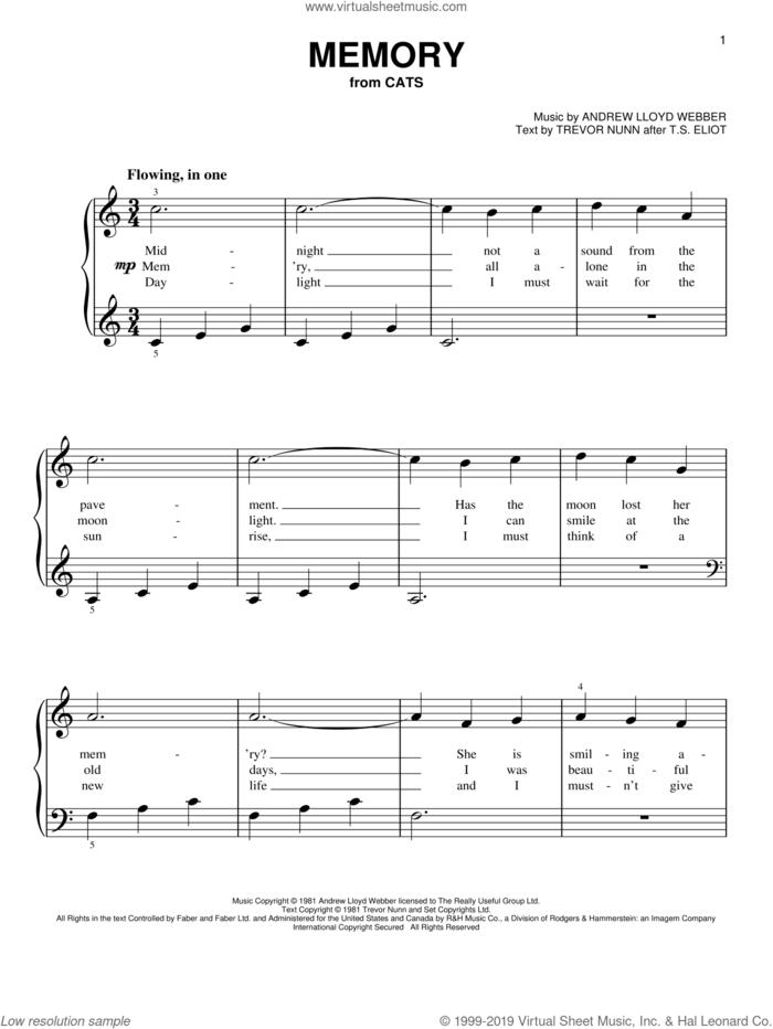 Memory (from Cats), (beginner) sheet music for piano solo by Andrew Lloyd Webber, Barbra Streisand and Trevor Nunn, beginner skill level