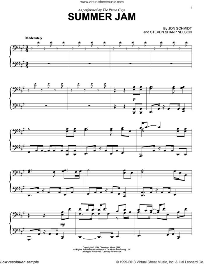 Summer Jam sheet music for piano solo by The Piano Guys, Jon Schmidt and Steven Sharp Nelson, intermediate skill level