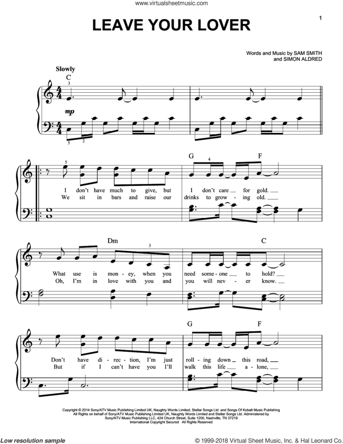 Leave Your Lover sheet music for piano solo by Sam Smith and Simon Aldred, easy skill level