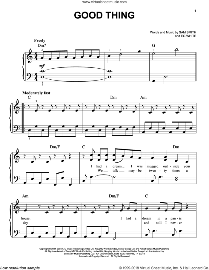 Good Thing sheet music for piano solo by Sam Smith and Eg White, easy skill level