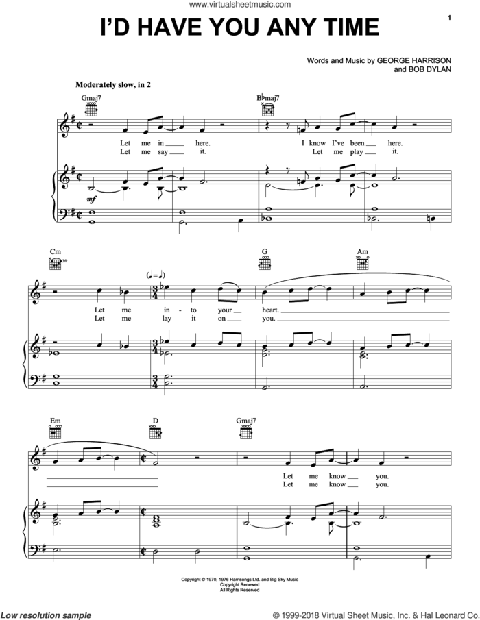 I'd Have You Any Time sheet music for voice, piano or guitar by George Harrison and Bob Dylan, intermediate skill level