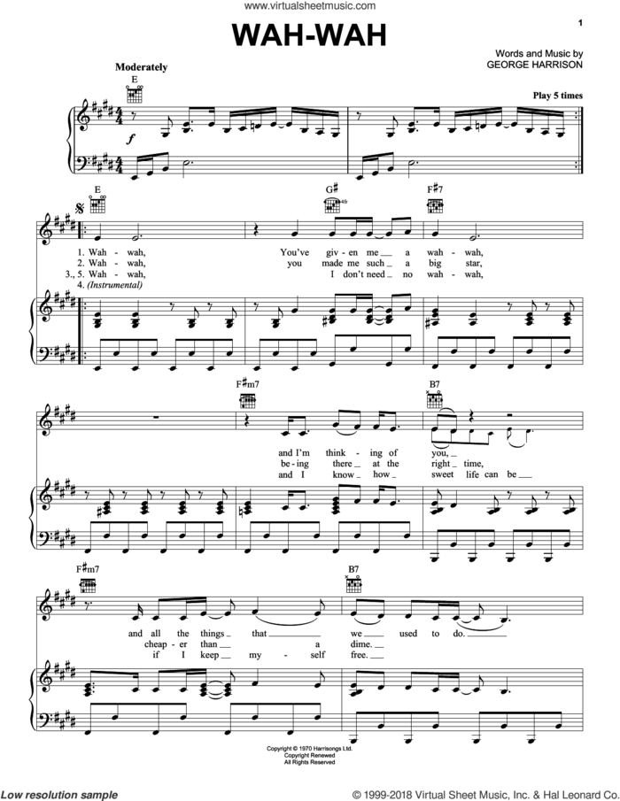 Wah-wah sheet music for voice, piano or guitar by George Harrison, intermediate skill level