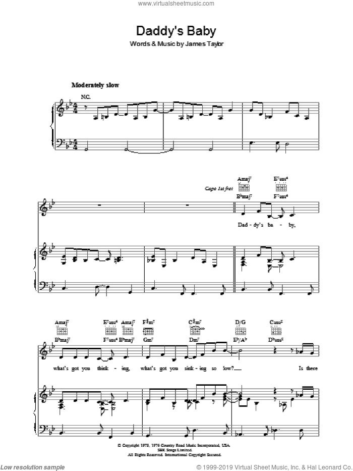 Daddy's Baby sheet music for voice, piano or guitar by James Taylor, intermediate skill level