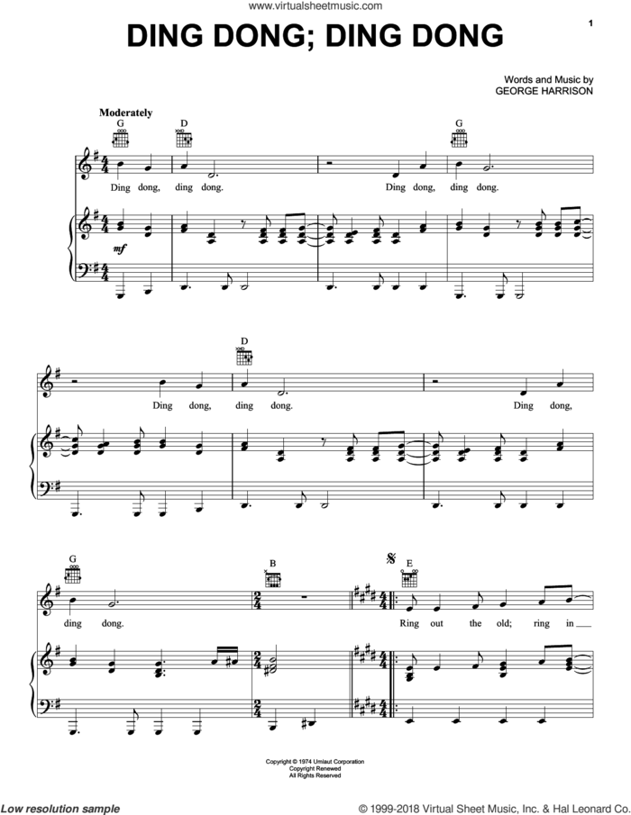 Ding Dong; Ding Dong sheet music for voice, piano or guitar by George Harrison, intermediate skill level