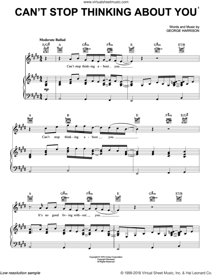 Can't Stop Thinking About You sheet music for voice, piano or guitar by George Harrison, intermediate skill level