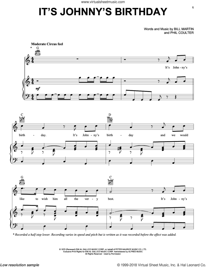 It's Johnny's Birthday sheet music for voice, piano or guitar by George Harrison, Bill Martin and Phil Coulter, intermediate skill level