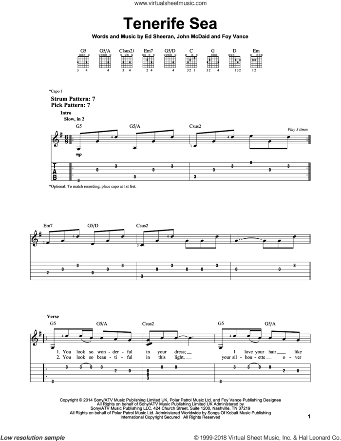 Tenerife Sea sheet music for guitar solo (easy tablature) by Ed Sheeran, Foy Vance and John McDaid, easy guitar (easy tablature)
