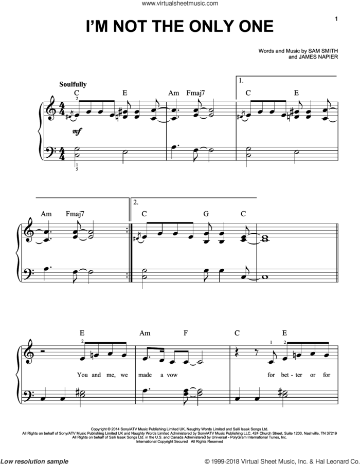 I'm Not The Only One sheet music for piano solo by Sam Smith and James Napier, beginner skill level