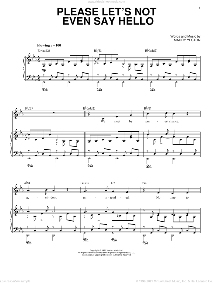 Please Let's Not Even Say Hello sheet music for voice, piano or guitar by Maury Yeston, intermediate skill level
