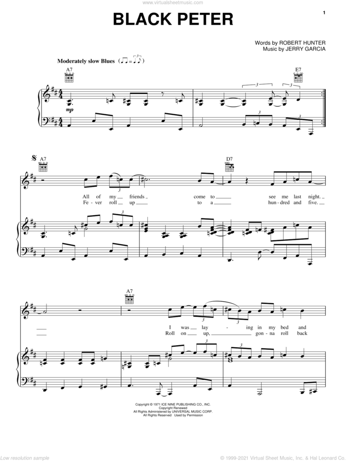 Black Peter sheet music for voice, piano or guitar by Grateful Dead, Jerry Garcia and Robert Hunter, intermediate skill level