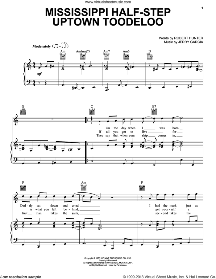 Mississippi Half-Step Uptown Toodeloo sheet music for voice, piano or guitar by Grateful Dead, Jerry Garcia and Robert Hunter, intermediate skill level