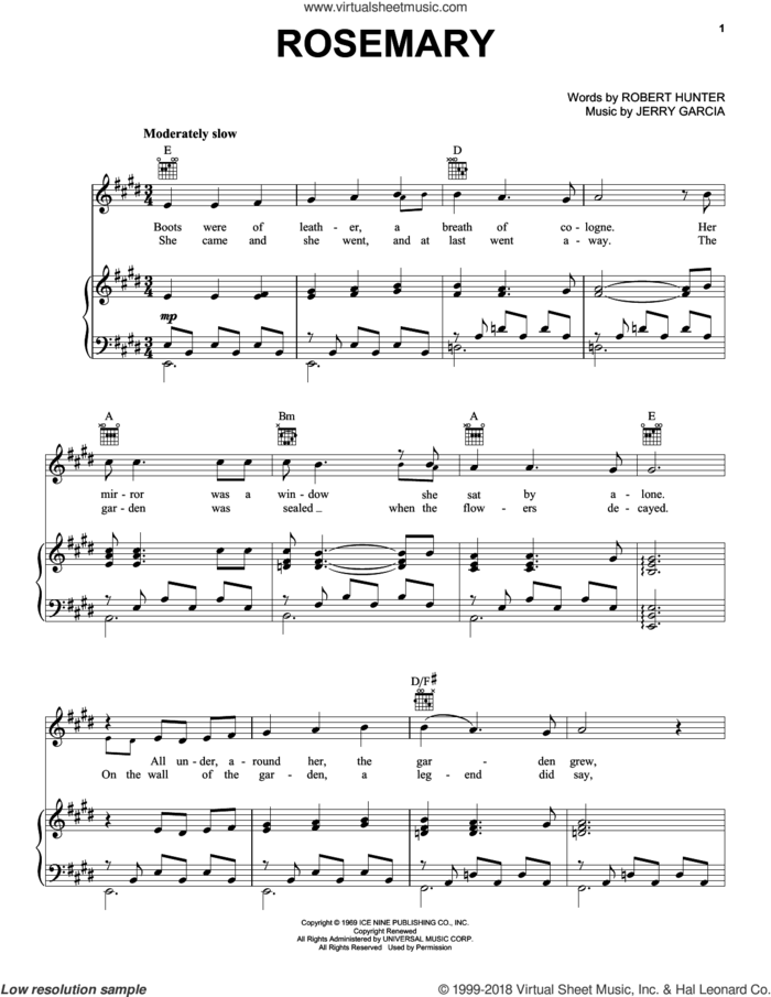 Rosemary sheet music for voice, piano or guitar by Grateful Dead, Jerry Garcia and Robert Hunter, intermediate skill level