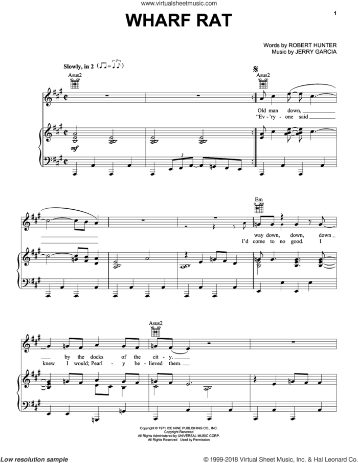 Wharf Rat sheet music for voice, piano or guitar by Grateful Dead, Jerry Garcia and Robert Hunter, intermediate skill level