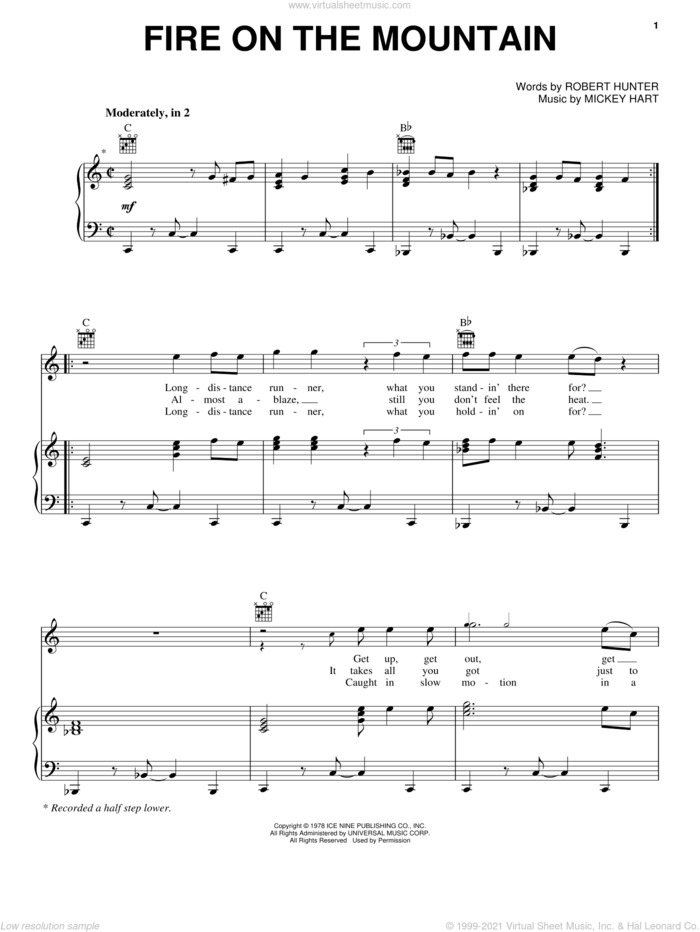 Fire On The Mountain sheet music for voice, piano or guitar by Grateful Dead, Mickey Hart and Robert Hunter, intermediate skill level