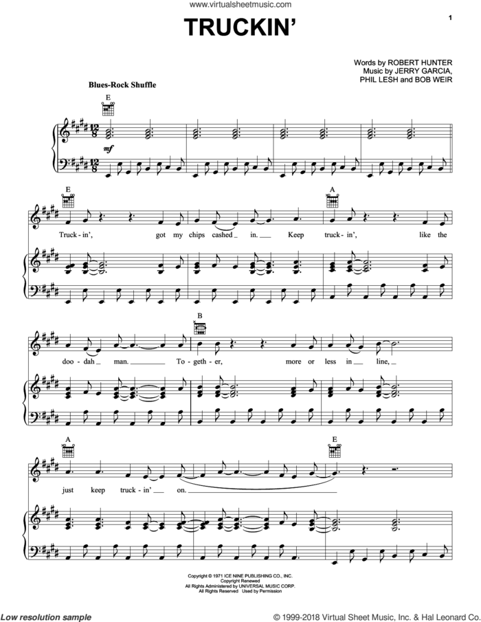 Truckin' sheet music for voice, piano or guitar by Grateful Dead, Bob Weir, Jerry Garcia, Phil Lesh and Robert Hunter, intermediate skill level