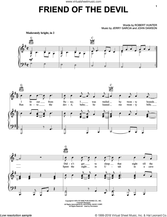 Friend Of The Devil sheet music for voice, piano or guitar by Grateful Dead, Jerry Garcia, John Dawson and Robert Hunter, intermediate skill level