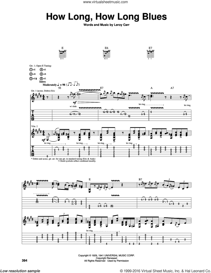 How Long Blues (How Long, How Long Blues) sheet music for guitar (tablature) by Eric Clapton and Leroy Carr, intermediate skill level