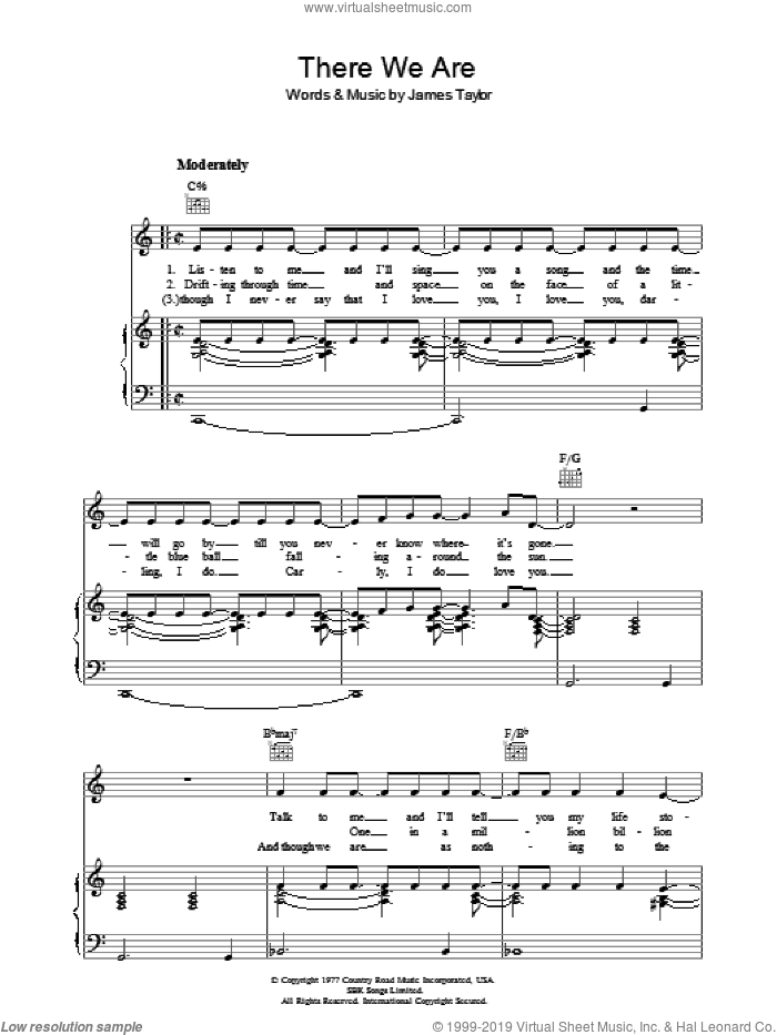 There We Are sheet music for voice, piano or guitar by James Taylor, intermediate skill level