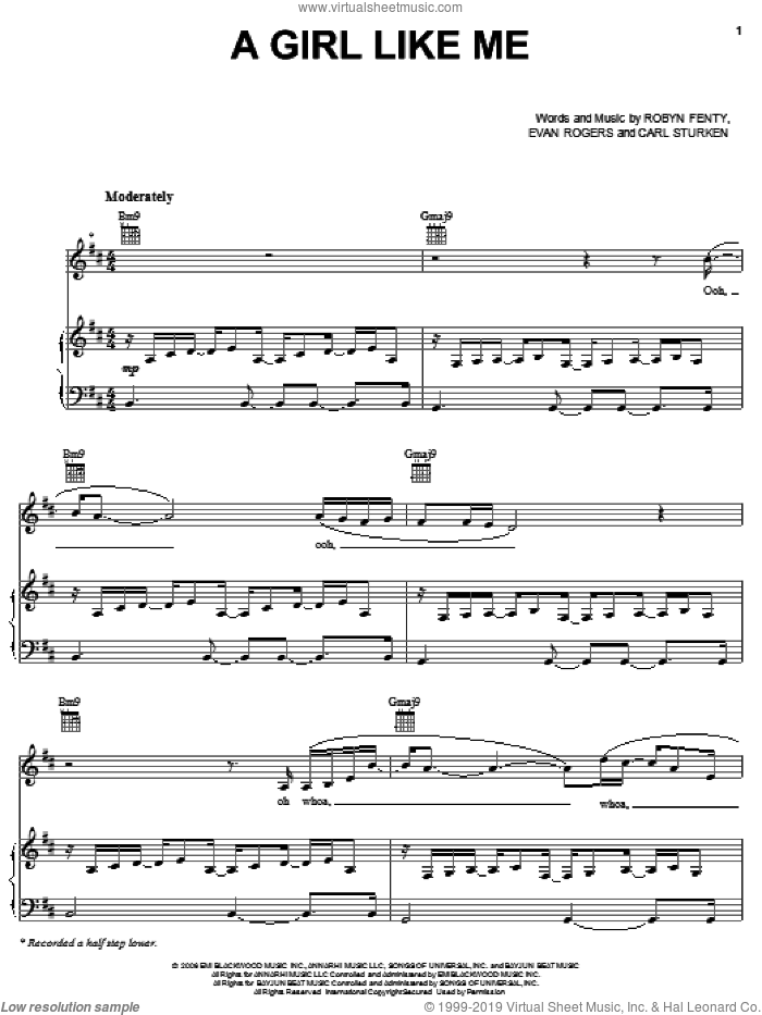 A Girl Like Me sheet music for voice, piano or guitar by Rihanna, Carl Sturken, Evan Rogers and Robyn Fenty, intermediate skill level