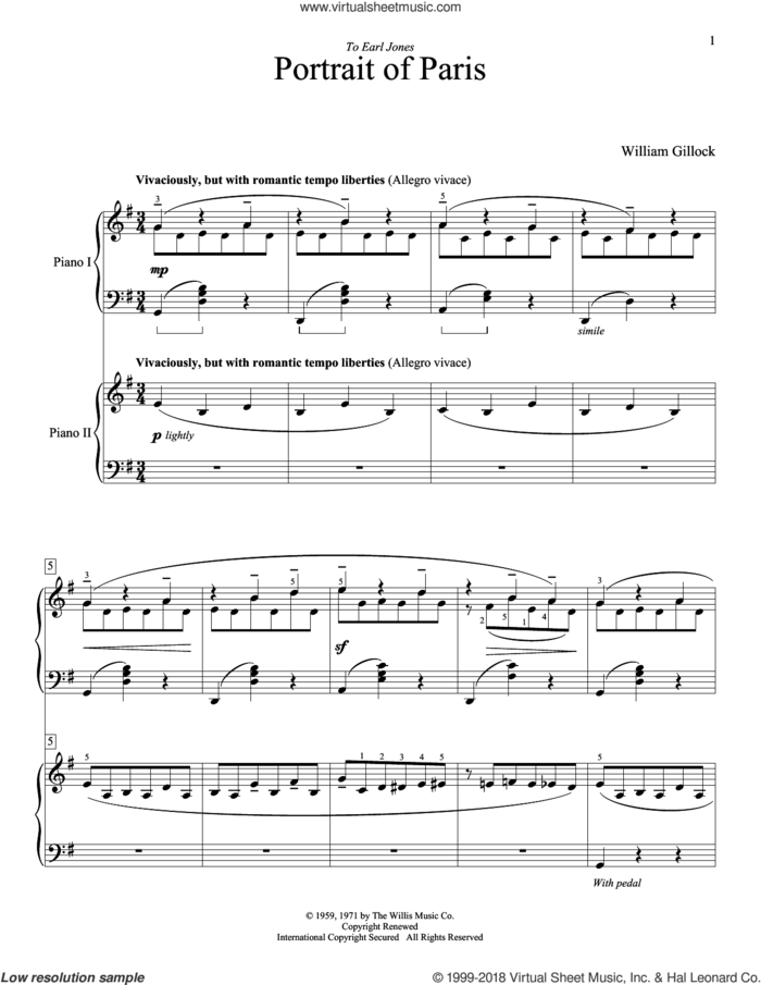 Portrait Of Paris sheet music for two pianos by William Gillock, intermediate duet
