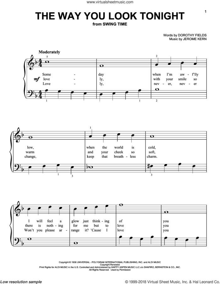 The Way You Look Tonight sheet music for piano solo by Jerome Kern and Dorothy Fields, beginner skill level