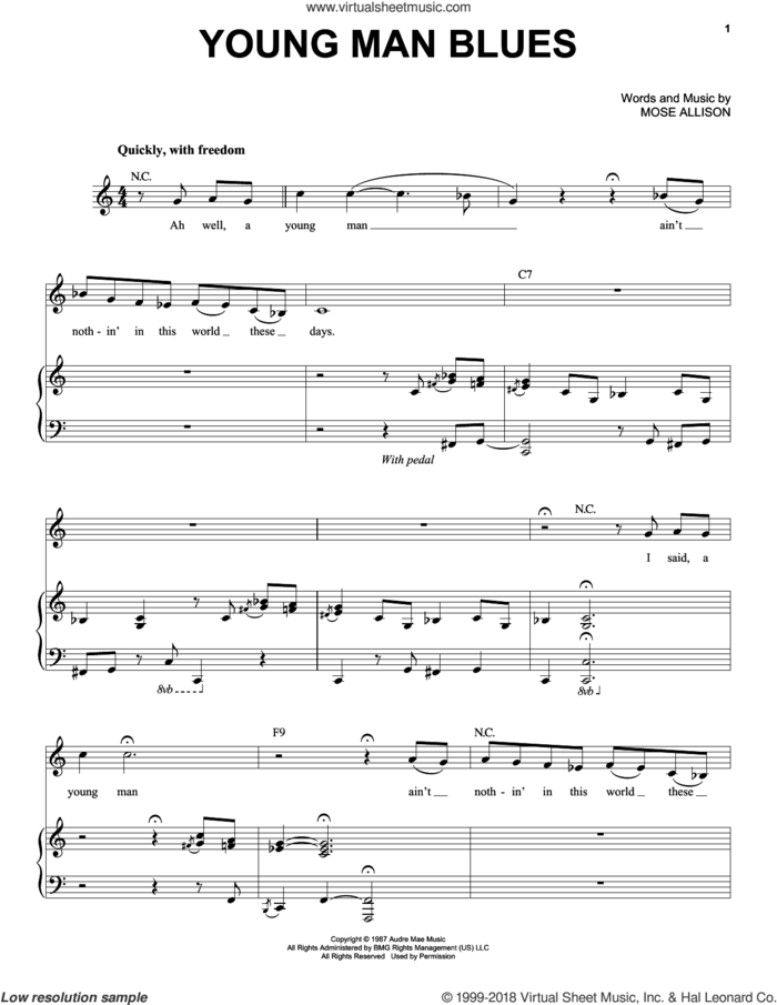 Young Man Blues sheet music for voice and piano by Mose Allison and The Who, intermediate skill level