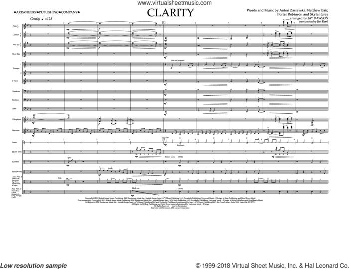 Clarity (COMPLETE) sheet music for marching band by Zedd, Anton Zaslavski, Holly Brook, Jay Dawson, Matthew Bair, Porter Robinson and Skylar Grey, intermediate skill level