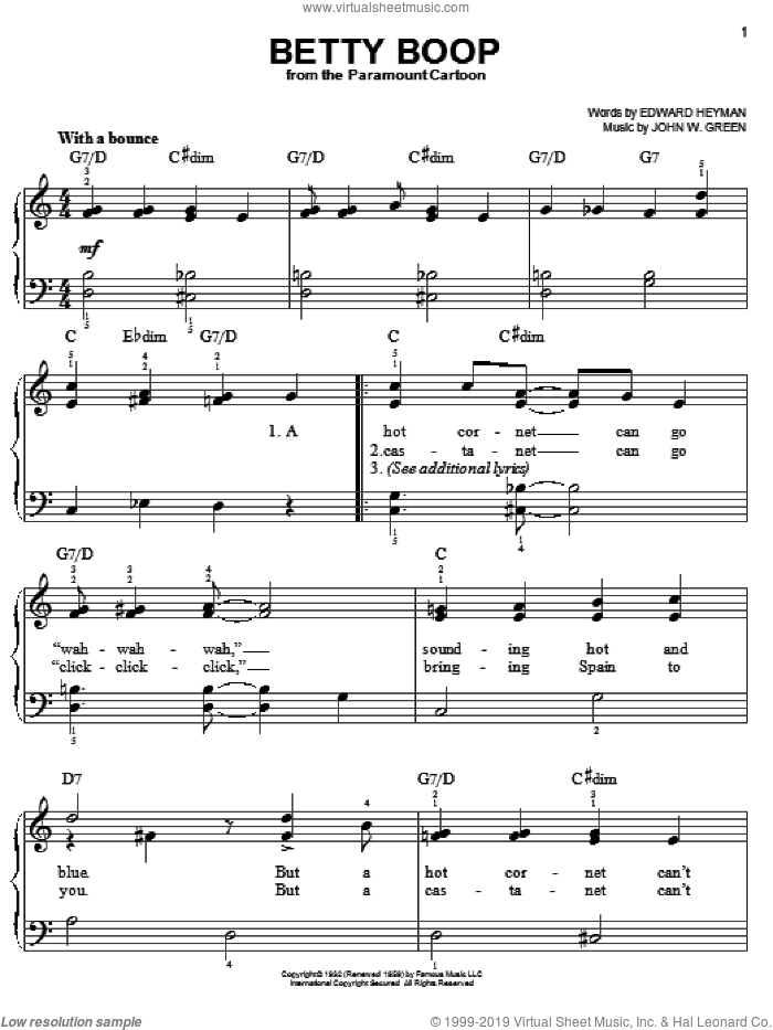 Betty Boop sheet music for piano solo by Edward Heyman and Johnny Green, easy skill level