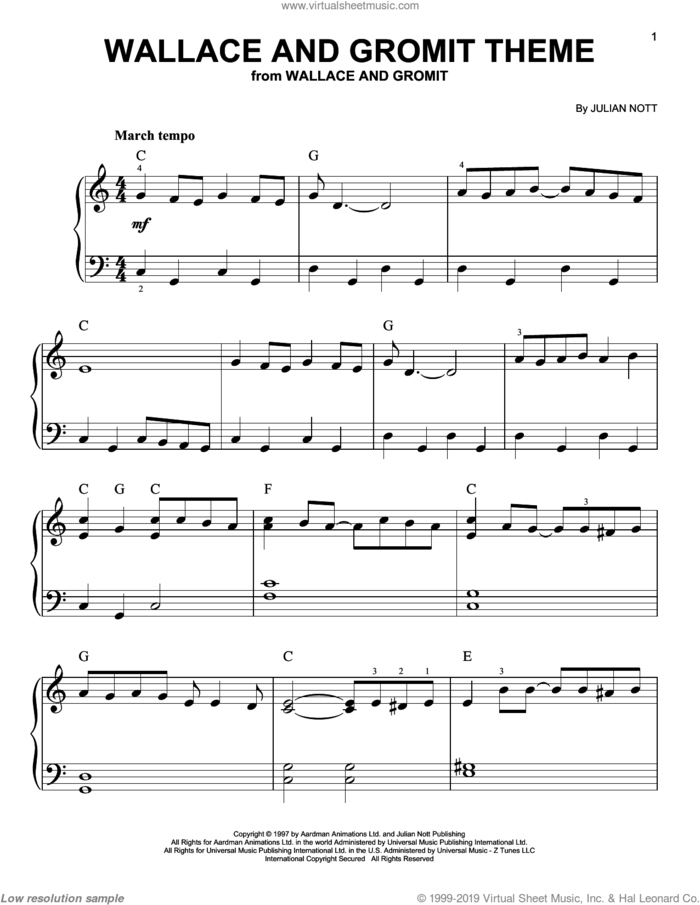 Wallace And Gromit Theme sheet music for piano solo by Julian Nott, easy skill level