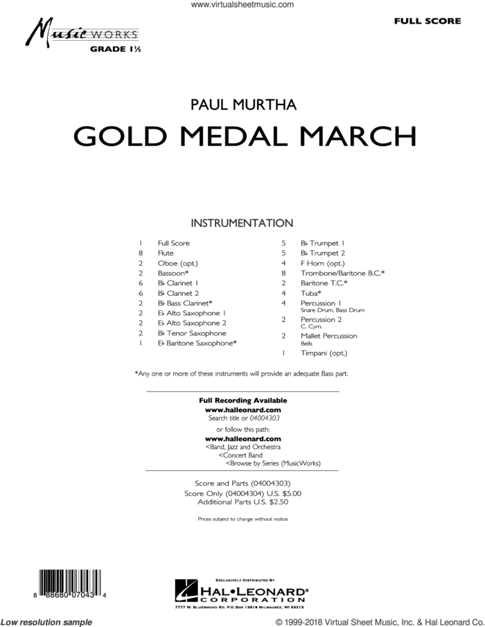 Gold Medal March (COMPLETE) sheet music for concert band by Paul Murtha, intermediate skill level