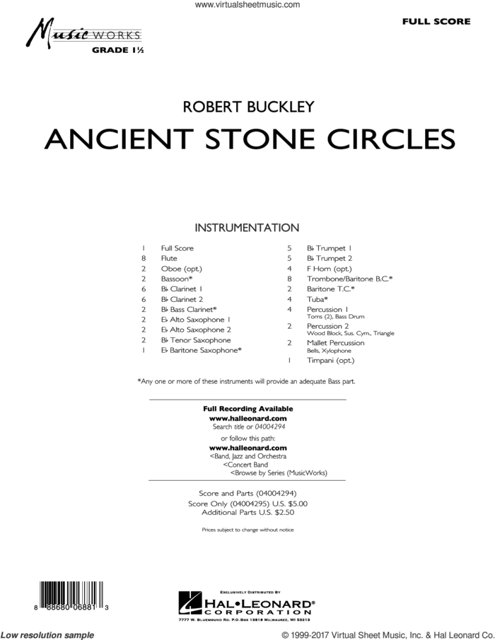 Ancient Stone Circles (COMPLETE) sheet music for concert band by Robert Buckley, intermediate skill level