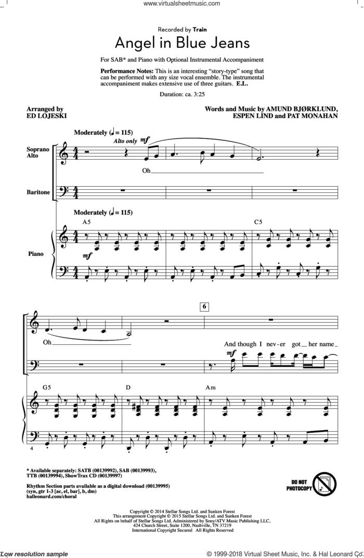 Angel In Blue Jeans sheet music for choir (SAB: soprano, alto, bass) by Ed Lojeski, Train, Amund Bjorklund, Espen Lind and Pat Monahan, intermediate skill level