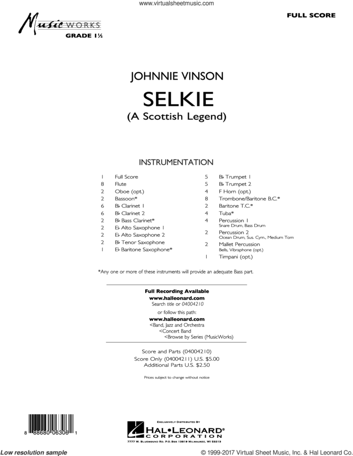 Selkie (A Scottish Legend) (COMPLETE) sheet music for concert band by Johnnie Vinson, intermediate skill level
