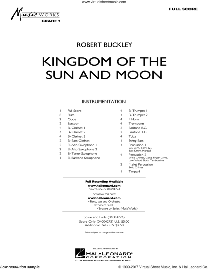 Kingdom of the Sun and Moon (COMPLETE) sheet music for concert band by Robert Buckley, intermediate skill level
