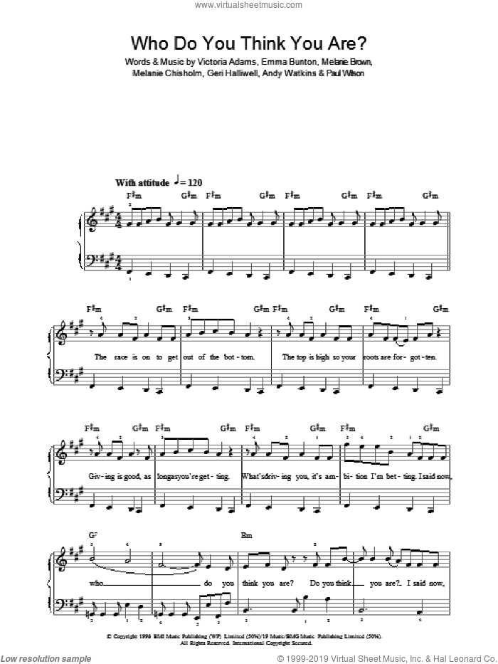 Who Do You Think You Are? sheet music for piano solo by The Spice Girls, Andy Watkins, Emma Bunton, Geri Halliwell, Melanie Brown, Melanie Chisholm, Paul Wilson and Victoria Adams, easy skill level