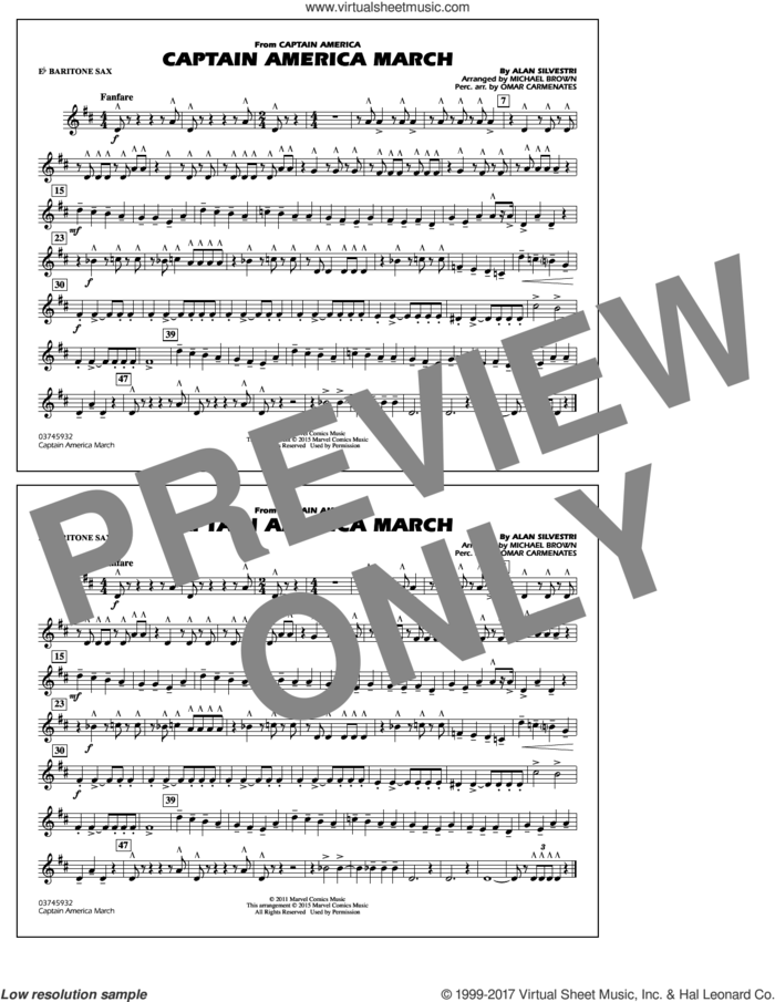Captain America March (COMPLETE) sheet music for marching band by Michael Brown and Alan Silvestri, classical score, intermediate skill level