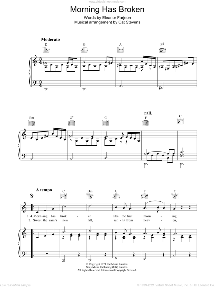 Morning Has Broken sheet music for voice, piano or guitar by Cat Stevens and Eleanor Farjeon, intermediate skill level