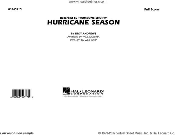 Hurricane Season (COMPLETE) sheet music for marching band by Paul Murtha, Trombone Shorty and Troy Andrews, intermediate skill level