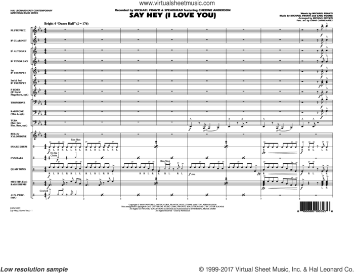 Say Hey (I Love You) (COMPLETE) sheet music for marching band by Michael Brown, Carl Young, Michael Franti and Michael Franti & Spearhead featuring Cherine Anderson, intermediate skill level