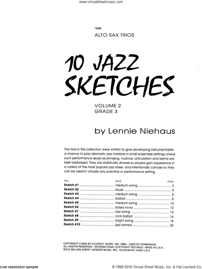 10 Jazz Sketches, Volume 2 (altos) sheet music for clarinet ensemble by Lennie Niehaus, intermediate skill level