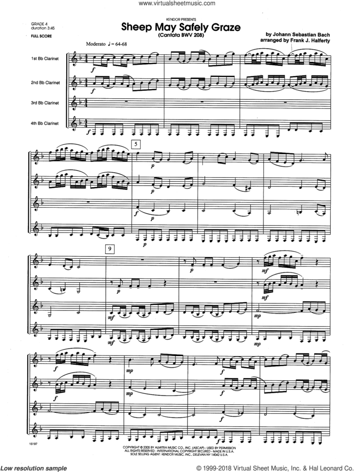 Sheep May Safely Graze (Cantata BWV 208) (COMPLETE) sheet music for four clarinets by Johann Sebastian Bach and Frank J. Halferty, classical score, intermediate skill level