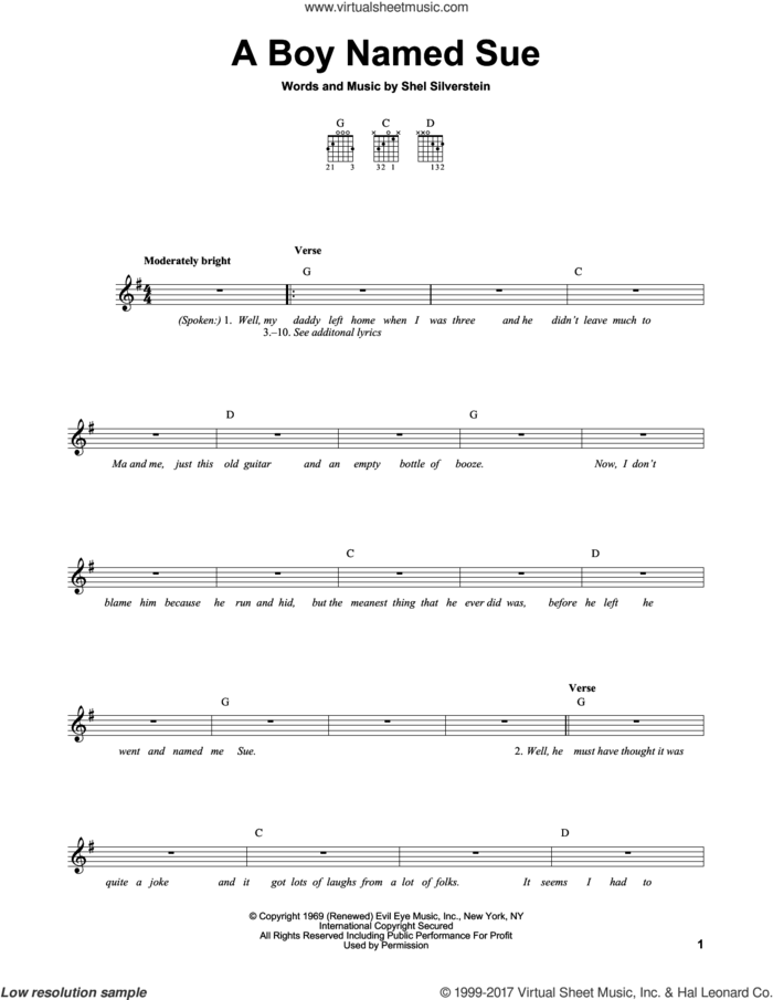 A Boy Named Sue sheet music for guitar solo (chords) by Johnny Cash and Shel Silverstein, easy guitar (chords)